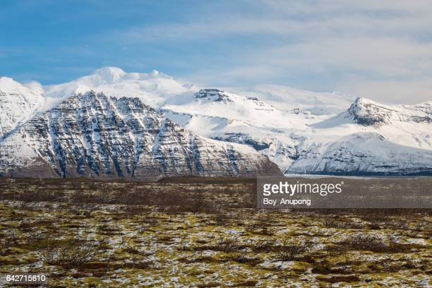 The beautiful landscape of the mountains range in Iceland.