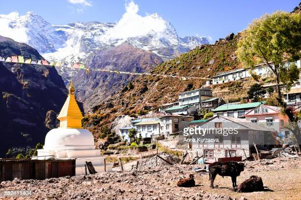 The beautiful landscape with the old buddhist stupa and the snow mountains on the background in the village Namche Bazaar in Himalayas, Nepal
