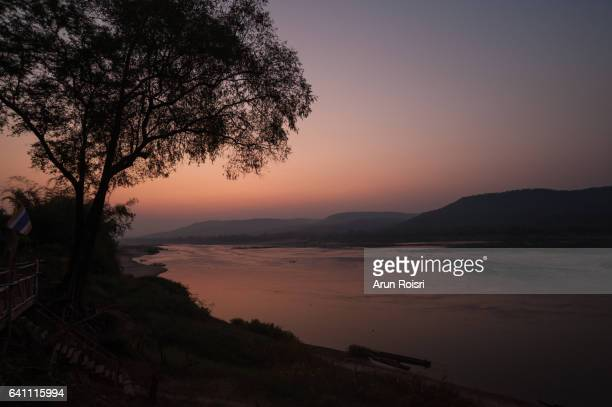 The beautiful landscapes along the Mekong as the sunsets over the river, Ubon Ratchatani province, Thailand