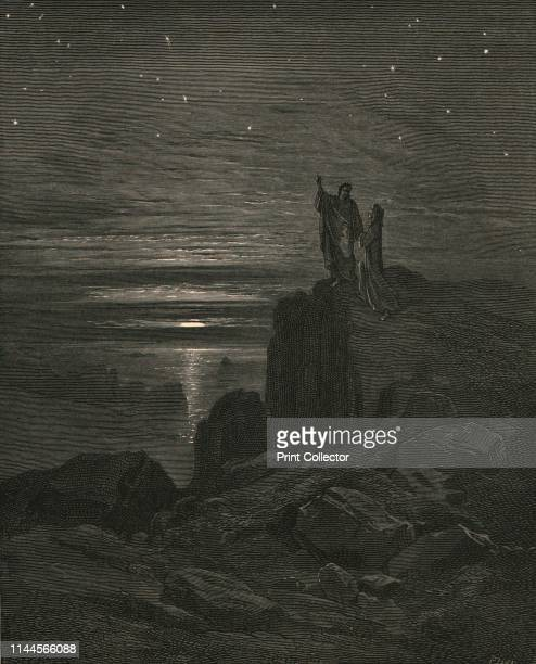 The beautiful lights of heav'n dawn'd through a circular opening in the cave thus issuing we again beheld the stars' circa 1890 Dante and the Roman...