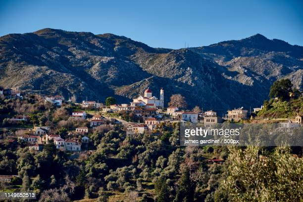 the beautiful mountain village of lakkoi on crete - latchi ストックフォトと画像