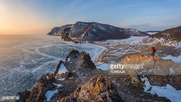 The beautiful panoramic landscape of frozen Baikal lake