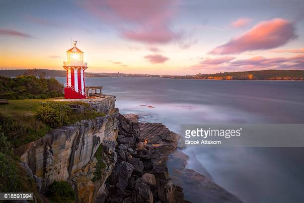 The beautiful red and white Hornby Lighthouse on South Head, NSW Australia