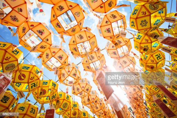 the beautiful samgwangsa temple during buddha's birthday. - korean culture stock pictures, royalty-free photos & images