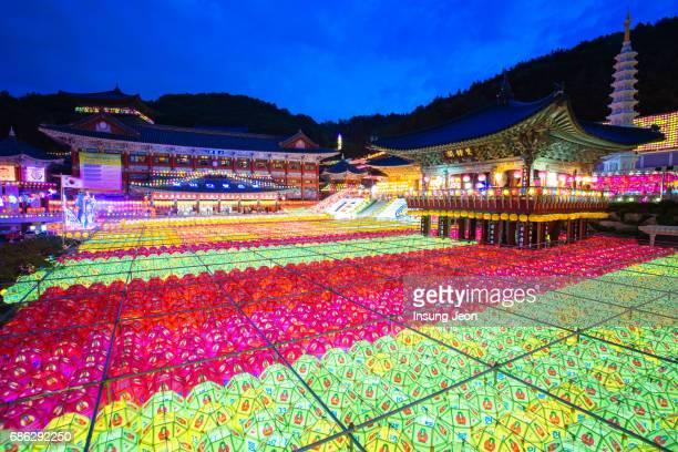 The beautiful Samgwangsa Temple during Buddha's birthday.