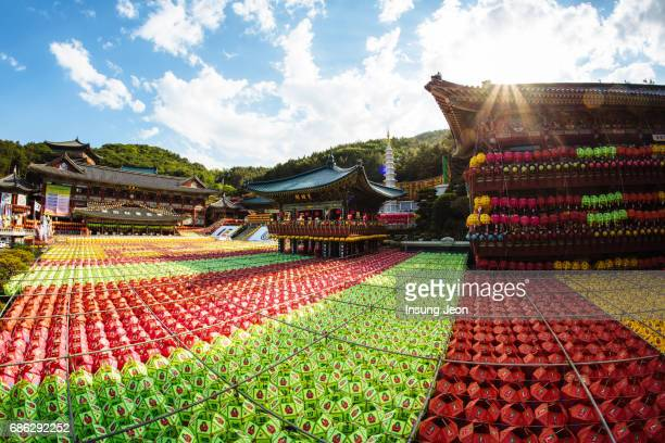 the beautiful samgwangsa temple during buddha's birthday. - south korea stock pictures, royalty-free photos & images