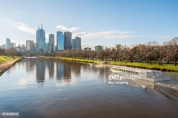 the beautiful scenery view of melbourne city with yarra river an iconic river in melbourne, australia. - ヤラ川 ストックフォトと画像