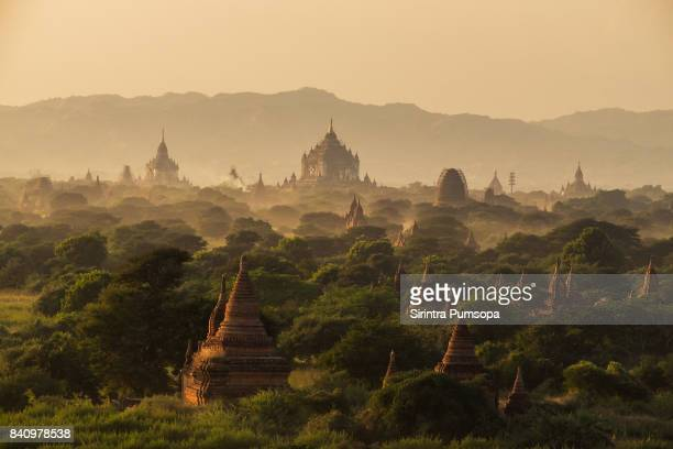 the beautiful scenic landscape of old pagoda during sunset in bagan ancient city mandalay, myanmar - myanmar stock pictures, royalty-free photos & images