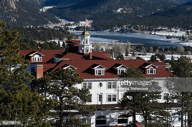 The beautiful Stanley Hotel is pictured from high above on January 12 2016 in Estes Park Colorado The hotel is located 104 miles from the Rocky...