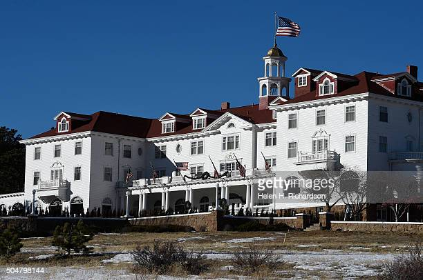 The beautiful Stanley Hotel on January 12 2016 in Estes Park Colorado The hotel is located 104 miles from the Rocky Mountain National Park The grand...