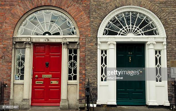 The beautiful traditional colored doors in the streets near the Saint Stephen's Park in the city of Dublin Ireland Europe