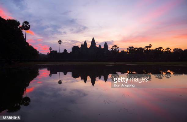 The beautiful twilight in the early morning of Angkor Wat the world heritage site of Siem Reap, Cambodia.