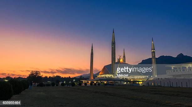The Beautiful Twilight over the Shah Faisal Mosque, Islamabad, Pakistan