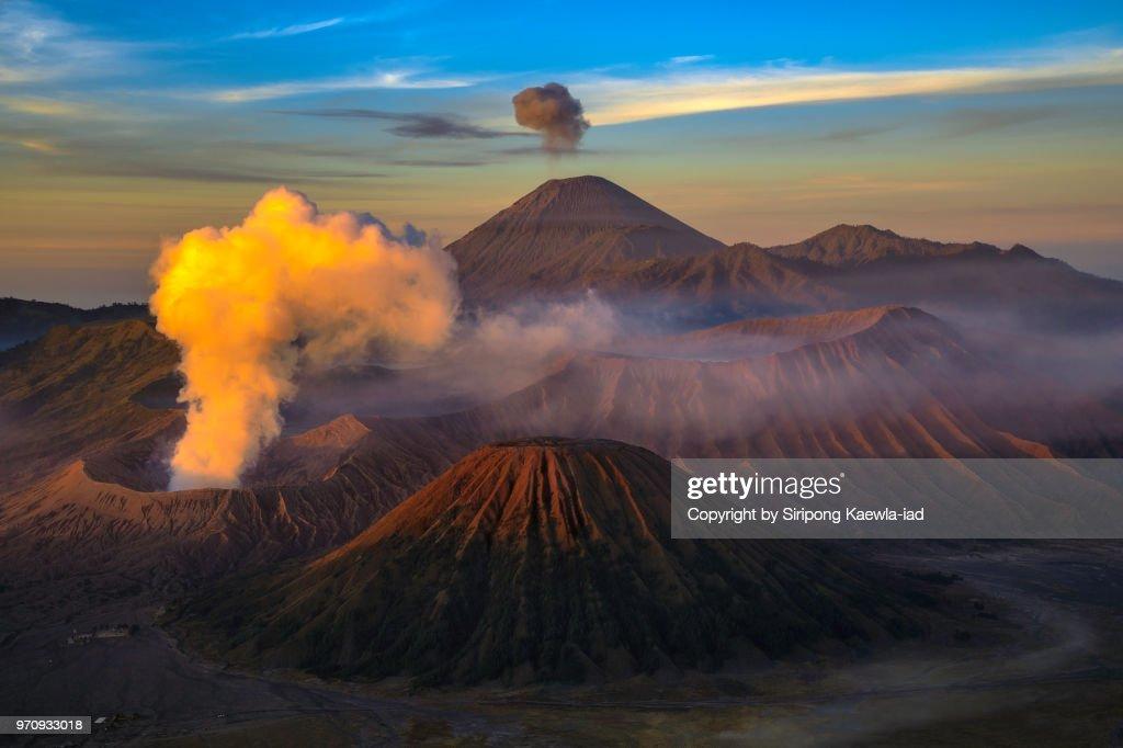 The beautiful volcanic landscape scene at the Bromo-Tengger-Semeru National Park during sunrise, East Java, Indonesia. : Stock Photo