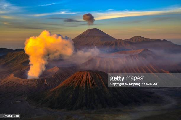 The beautiful volcanic landscape scene at the Bromo-Tengger-Semeru National Park during sunrise, East Java, Indonesia.