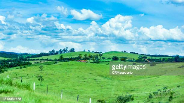 the beauty of the natural scenery next to the highway. farms, home, animals and beautiful clouds. all beautiful and beautiful. - crmacedonio photos et images de collection
