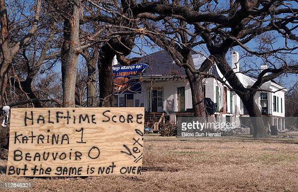 The Beauvoir house in Biloxi Mississippi is shown in December 2005 four months after Hurricane Katrina hit the area