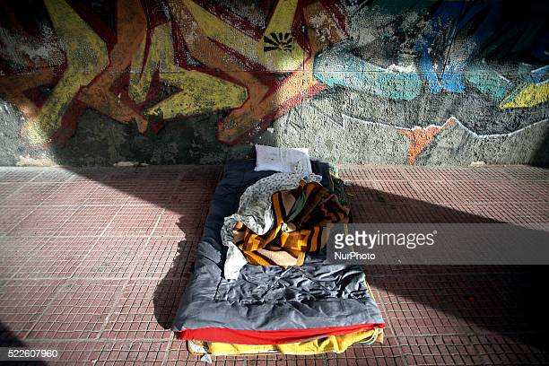 The bed of a homeless person in Athens city center April 19 2016