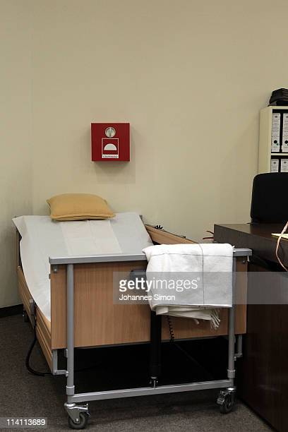 The bed of accused Nazi criminal John Demjanjuk is seen prior his trial at a court room prior to the assumed verdict on May 12 2011 in Munich Germany...