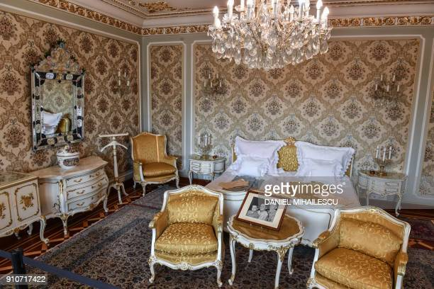 The bedroom of late dictator Nicolae Ceausescu and his wife Elena at their former residence, Palatul Primaverii in Bucharest on January 26, 2018. The...