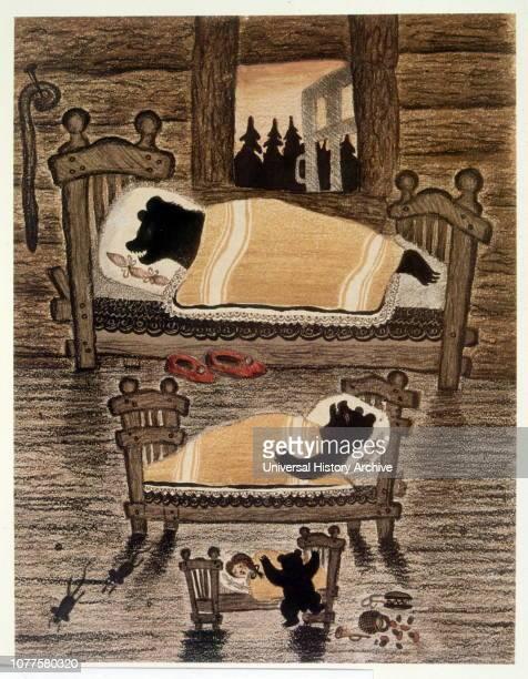 The bedroom of the sleeping bears Illustration to Goldilocks and the three bears' 1935 by Yuri Vasnetsov Soviet painter and graphic artist His work...