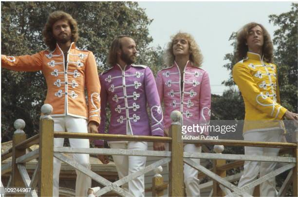 The Bee Gees and Peter Frampton on the set of Sgt Pepper's Lonely Hearts Club Band film USA LR Barry Gibb Maurice Gibb Peter Frampton Robin Gibb