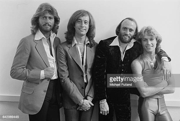The Bee Gees and their younger brother Andy Gibb at the NARM convention and award ceremony at the Diplomat Hotel in Hollywood Florida March 1979 Left...
