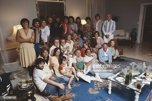 The Bee Gees at home in Miami Florida with their friends and family March 1978 Pictured are Robin Maurice and Barry Gibb with their brother Andy Gibb...