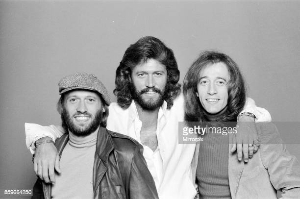 The Bee Gees back in London 22nd November 1981, From left to right: Maurice Gibb, Barry Gibb, Robin Gibb.