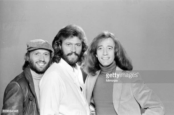 The Bee Gees back in London 22nd November 1981 From left to right Maurice Gibb Barry Gibb Robin Gibb