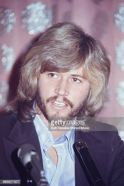 The Bee Gees Barry Gibb at press conference, Tokyo, March 1972.