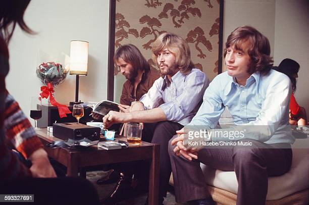 The Bee Gees getting interviewed at a hotel in Tokyo March 1972