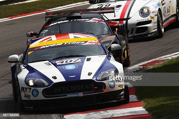 The Beechdean AMR Aston Martin of Jamie Chadwick and Ross Gunn drives during the British GT Championship race at Brands Hatch on August 2, 2015 in...