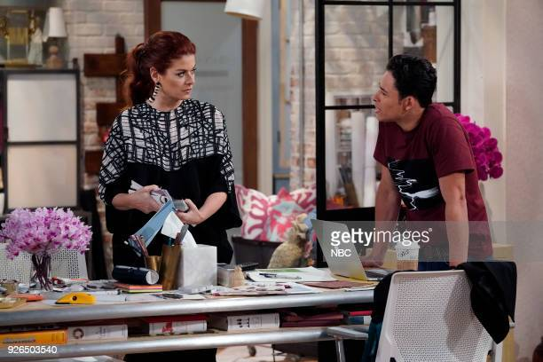 WILL GRACE 'The Beefcake and the Cake Beef' Episode 114 Pictured Debra Messing as Grace Adler Anthony Ramos as Tony