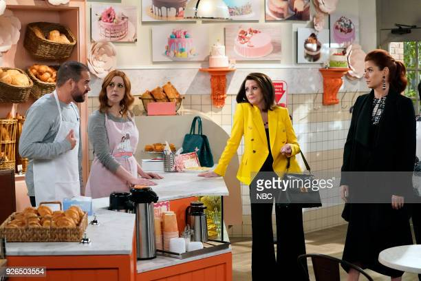 WILL GRACE 'The Beefcake and the Cake Beef' Episode 114 Pictured Ian Harvie as Bud Vanessa Bayer as Amy Debra Messing as Grace Adler Megan Mullally...
