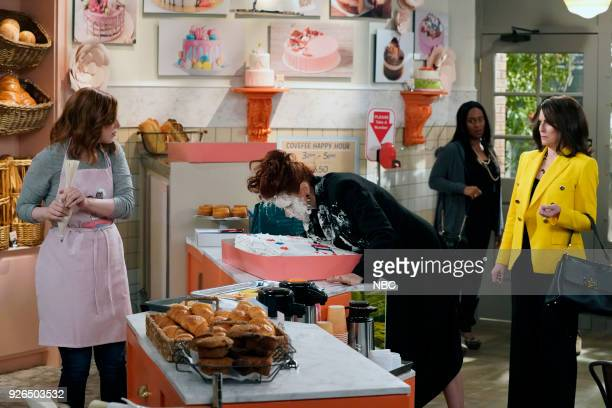 WILL GRACE 'The Beefcake and the Cake Beef' Episode 114 Pictured Vanessa Bayer as Amy Debra Messing as Grace Adler Megan Mullally as Karen Walker