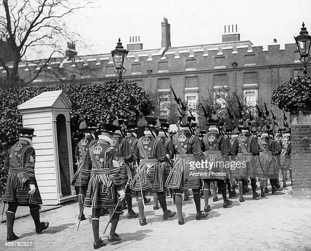 The Beefeaters enter the Palace for the Duke of Connaught at the St James Palace in EnglandCirca 1930