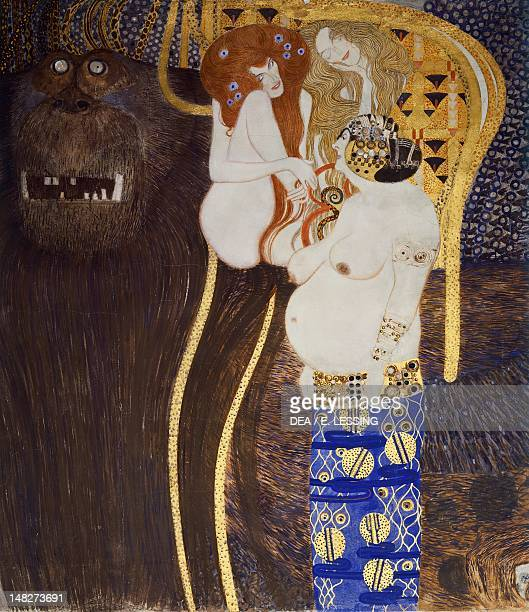 The Beethoven Frieze The longing for happiness by Gustav Klimt Detail Vienna Österreichischer Galerie Belvedere