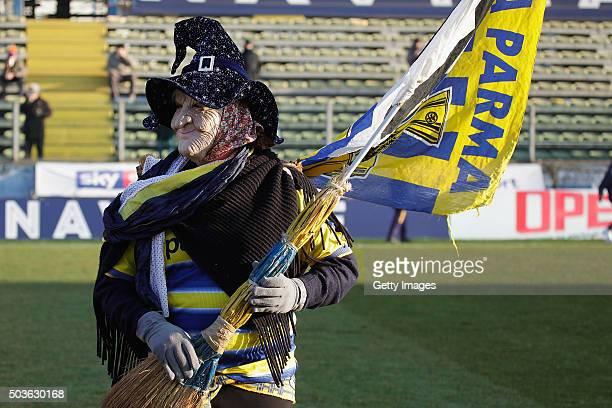 The Befana popular mask celebrates durnig the Serie D match between Parma Calcio 1913 and Union Arzignanocampo at Stadio Ennio Tardini on January 6...