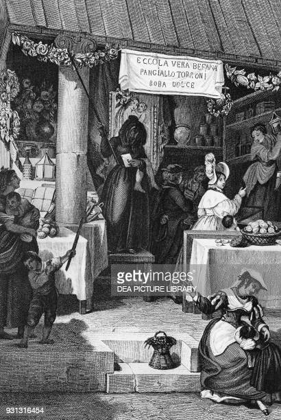 The befana stall selling sweets and nougat in Piazza Navona during the Epiphany Rome engraving by Bartolomeo Pinelli Italy 19th century