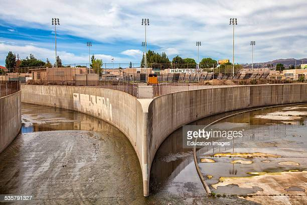 The beginning of the Los Angeles River at the confluence of Bell Creek and Arroyo Calabasas in Canoga Park San Fernando Valley Los Angeles County...