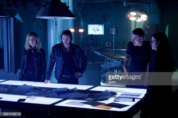 12 MONKEYS 'The Beginning Part I' Episode 410 Pictured Amanda Schull as Cassandra Railly Aaron Stanford as James Cole Kirk Acevedo as Ramse Emily...