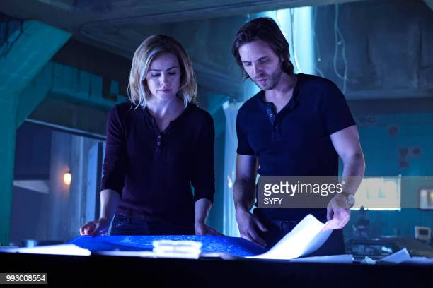 12 MONKEYS 'The Beginning Part I' Episode 410 Pictured Amanda Schull as Cassandra Railly Aaron Stanford as James Cole