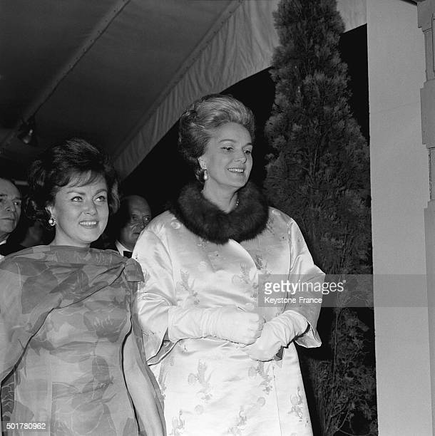 The Begum Aga Khan and actress Nadia Gray arrive at the screening of the soviet movie 'Optimistic Tragedy' at Cannes Film Festival on May 24 1963 in...
