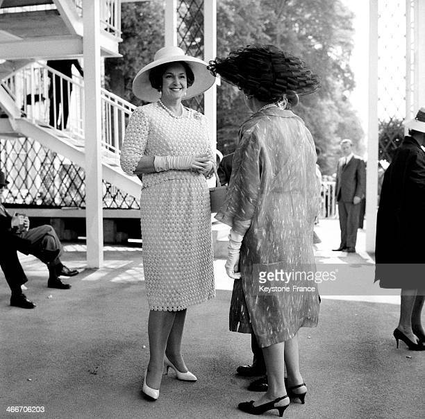 The Begum Aga Khan at Chantilly racecourse for the Prix de Diane on June 14 1965 in Chantilly France