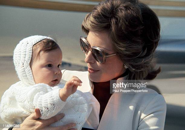 The Begum Aga Khan the Princess Salima with her baby daughter Zahra in London circa May 1970