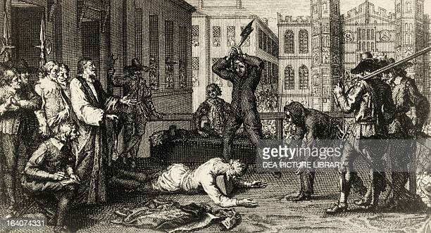 The beheading of Charles I of England engraving from 17th century England