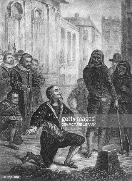 The beheading of Charles I of England January 30 engraving by Ferdinand Delannoy