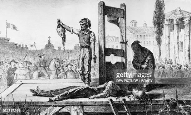 The beheading of Giuseppe Monti and Gaetano Tognetti November 24 responsible for an attack on a barracks in Rome lithograph Italy 19th century