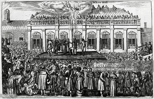 The beheading of King Charles I on a platform positioned in front of Whitehall Palace January 30 engraving United Kingdom 17th century London British...